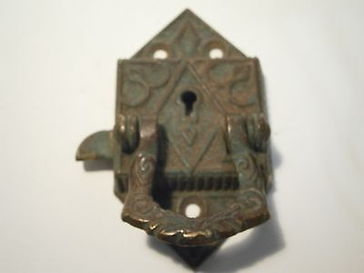 Vintage Brass Latch Lock No Key Antique Drawer Door Cabinet Desk Furniture