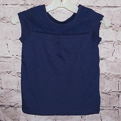 CAT & JACK Top Navy Blue Eyelet T Shirt Tee Girls Top 2T & 12 Months