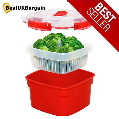 Microwave Large Steamer with Removable Steamer Basket 3.2 L, Red/Clear Sistema