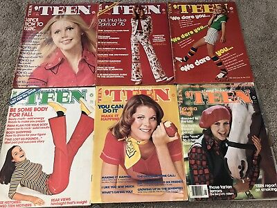 VINTAGE TEEN MAGAZINE FASHION LOT OF 6 70s