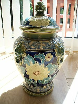 Large Chinese Lidded Vase - Floral Pattern - H16ins