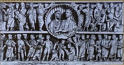 Bible Scenes on 4th c. Sarcophagus, Laterano Palace, Magic Lantern Glass Slide
