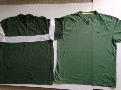 2 Green Tshirts. Size S. H&M, Cherokee. Hardly Used. Pit To Pit 19.75cm Cotton