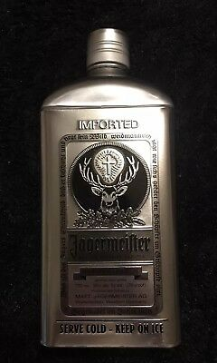 Limited Edition Jagermeister Metal (Tin) Bottle Cover Silver & Black (NEW)
