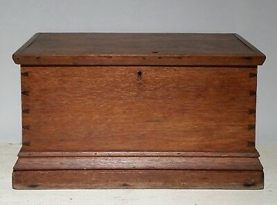 Antique Original Primitive 1800S Walnut Wood Dovetailed Lidded Document Box