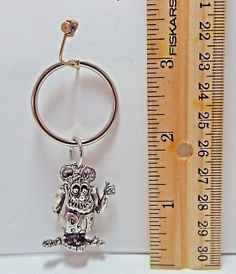 Rat Fink  Ed Roth Silver Plated Metal Key Chain.