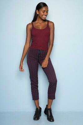 New! brandy melville high rise black/maroon/gray striped tilden pants NWT S
