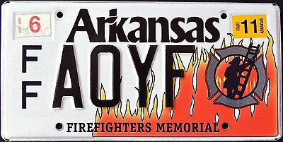 """ARKANSAS """" FIREFIGHTER - NATURAL STATE """" AR Graphic License Plate"""