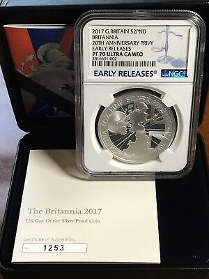 2017 Britannia £2 Proof Silver NGC PF70 UC ER Great Britain UK