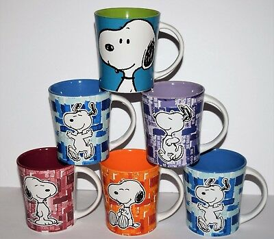GIBSON Overseas Peanuts SNOOPY  Ceramic MUG  Lot of 6