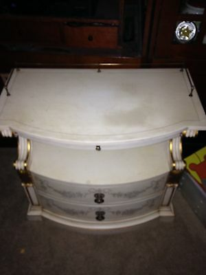 Vintage KARGES NIGHTSTAND End Table French Provincial Ivory & Gold Scroll