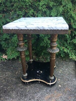 Antique Marble Top TABOURET Telephone Table Smoke Stand