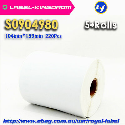 5 Rolls Dymo S0904980/1744907 Compatible Labels for 4XL 104X159mm 220Pcs/Roll