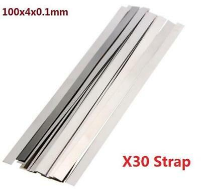 Pure Nickel 99.96% Low Resistance Ni Metal Strap Sheet Set 0.1mm*4mm*100mm X30 ^
