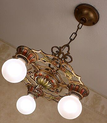 20's ANTIQUE VINTAGE ART DECO CAST IRON CEILING LIGHT CHANDELIER