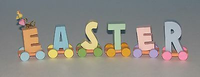 EASTER DECORATION wood block EASTER TRAIN PASTEL COLOR INDIVIDUAL LETTERS CUTE