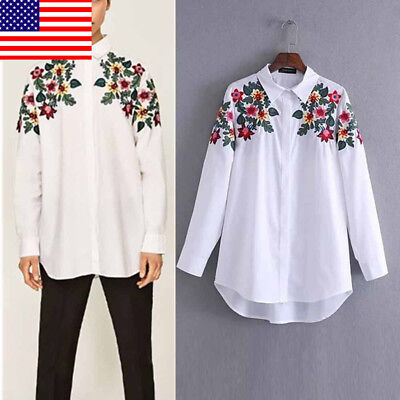 White S Women Floral Printed Casual Long Sleeve Blouse Summer Short T-Shirt Crop