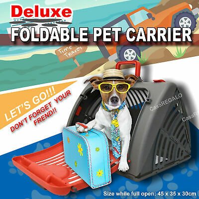 DELUXE PET CARRIER Fordable Travel Carry Cage Dog Cat Rabbit