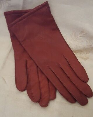 Fownes Ladies Leather Gloves-Acrylic Lined-Burgundy/Red Color-Size 7 1/2