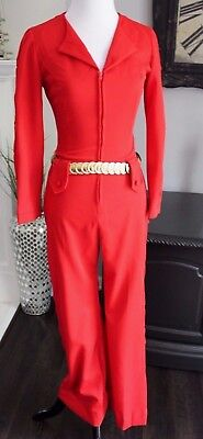 Vintage Women's Red Polyester Bell Bottom Jumpsuit Arm Leg Cut Outs, Gold Belt