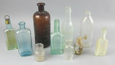 Lot of 10 Clear,Brown/Amber, and Blue Antique Medicine/Medical/Tonic Bottles