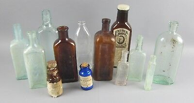 Lot of 13 Clear,Brown/Amber, and Blue Antique Medicine/Medical/Tonic Bottles