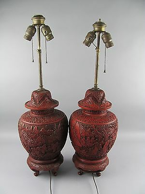 Pair of Antique Chinese Carved Lacquer Cinnabar Large Lamps Stunning!