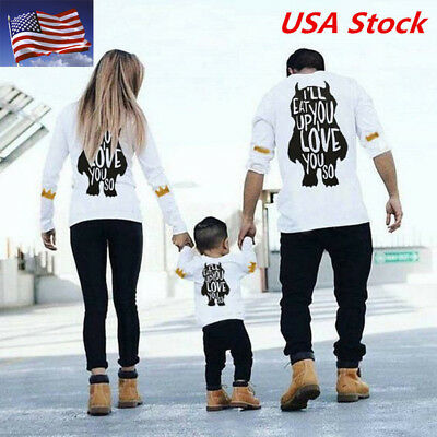 US Stock Family Matching Outfits T-shirt Father DADDY MOMMY GIRL Boys Tee Tops