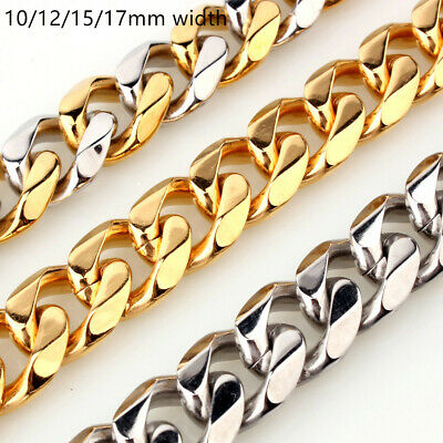 10/12/15/17mm MEN Chain Stainless Steel Silver Gold Cuban Curb Necklace Bracelet