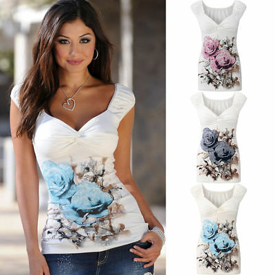 AU Womens Floral V Neck Casual Tops Ladies Sleeveless Vest T Shirt Blouse Tank