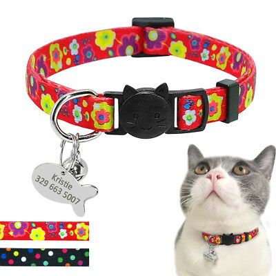 Personalized Cat Collar with Bell Safety Breakaway Dog Collar Necklace Name Tag