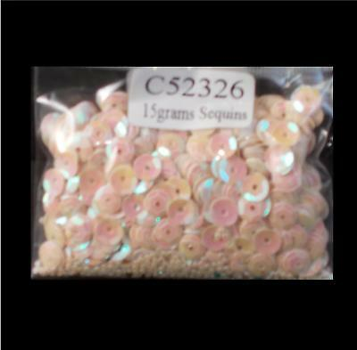 15g 6mm Cup Sequins - Cream/Creme - Opalescent Pearlescent - New