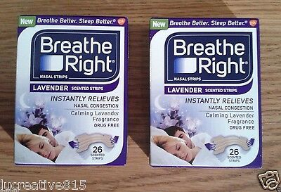 Lot 52ct Breathe Right Lavender Nasal Strip Sleep Allergy Snore Congestion 1115