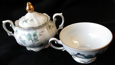 Vintage Mitterteich Sugar Bowl and Cup Green Ming Bavaria Germany 096 Porcelain