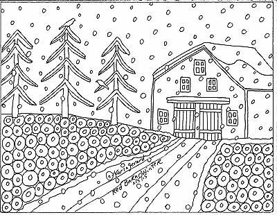 RUG HOOK Craft PAPER PATTERN Red Barn Winter FOLK ART PRIMITIVE Karla Gerard