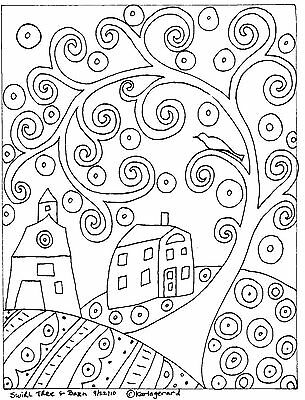 RUG HOOK PAPER PATTERN Swirl Tree House & Barn FOLK ART ABSTRACT by Karla Gerard
