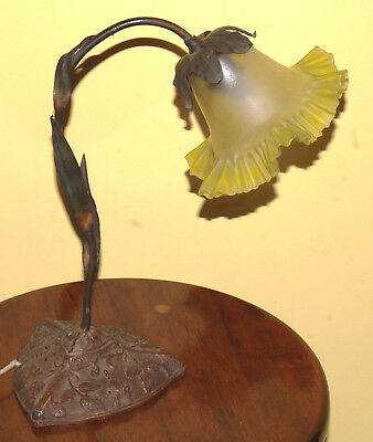 Beautiful Antique Yellow Glass Flower Lamp w/ Bronze Base and Leaves 1910