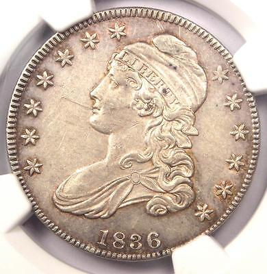 1836 Capped Bust Half Dollar 50C O-111 - NGC AU Details - Rare Certified Coin!