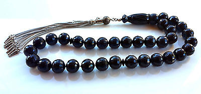 Dark Blue Amber Bakelite Prayer Worry Beads Tasbih Tasbeeh Masbaha
