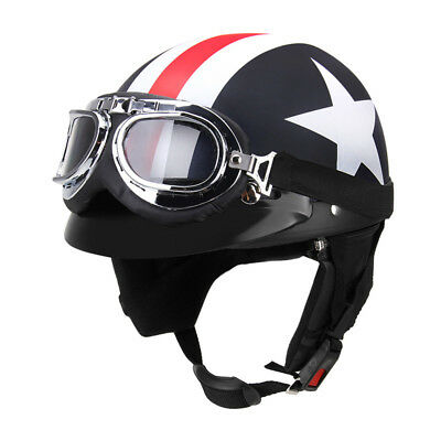 Cool Motorcycle Biker Scooter Open Face Half Vintage Helmet w/Goggles For Harley