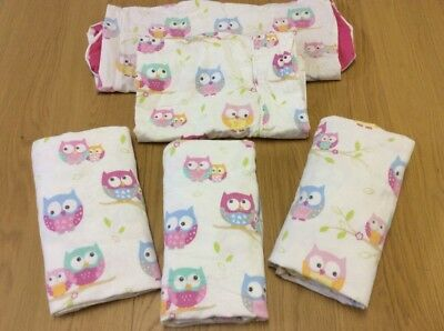 Fitted sheets Stokke sleepi cot Pink Owl x3, X1 pillowcase + X1 New Care Cover