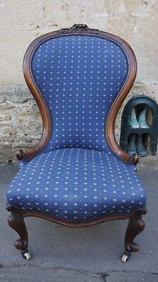 Gorgeous shabby chic vintage Victorian spoon back nursery chair nursing chair
