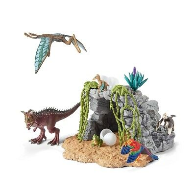 Schleich Dinosaur Set with Cave Life Like Toy Model Dinosaur Figures