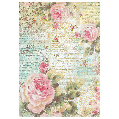 1 Blatt DIN A4 Decoupage Reispapier DFSA4204 rose and writings Stamperia