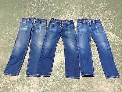 Lot Of 3 Levi's 501 STF Worn Faded Work 32 X 36 Jeans