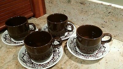 retro STAFFORDSHIRE BILTONS TABLEWARE IRONSTONE CUPS & SAUCERS x 4 england