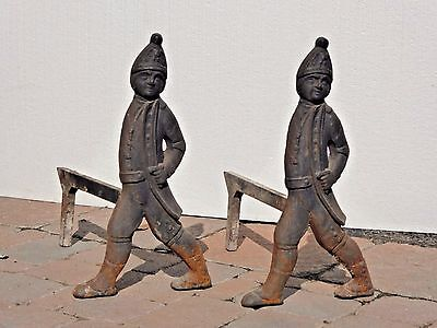 Vintage Fireplace ANDIRONS HESSIAN SOLDIERS Rustic Cast Iron w Firedogs