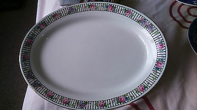 1906 + Very Large Oval Grimwades  Platter Black  Band  With Pink Roses