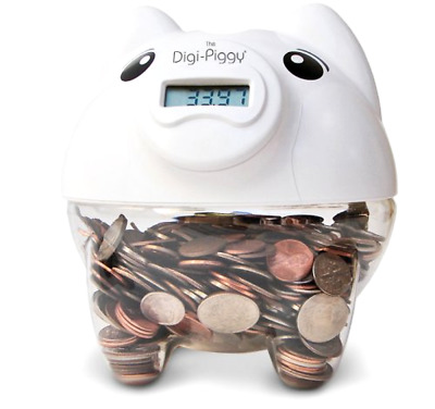 Digital Coin Counting Bank The Digi Piggy LCD Snout Read Out Battery Operated