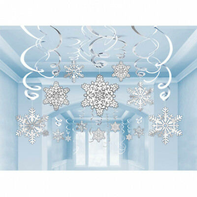 30 x Hanging Christmas Snowflake & Foil Swirl Party Decorations